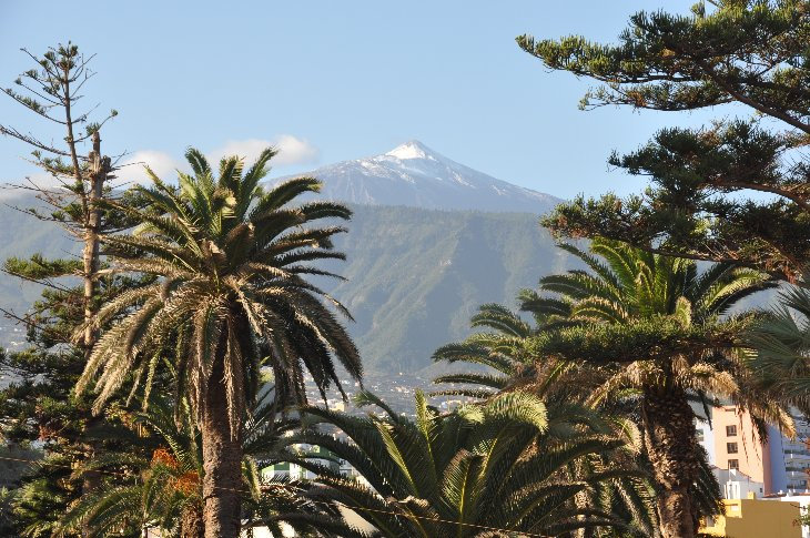 Snow on Pico del Teide seen from Puerto de la Creuz