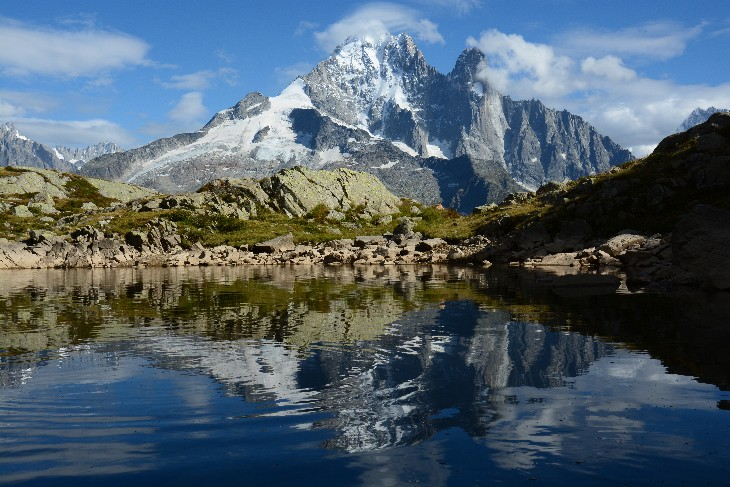 Aiguille Verte reflected in a small tarn near Lac Blanc