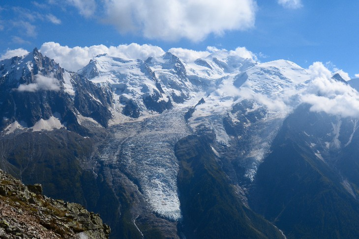 Bionassay glacier descending from the Mont Blanc massif