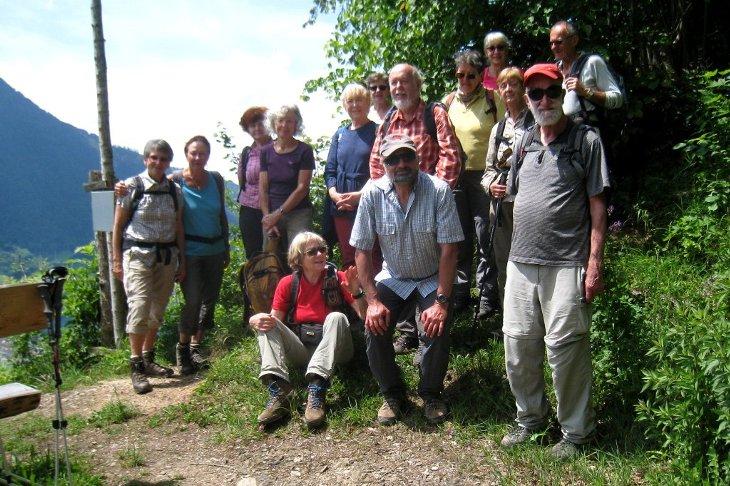 Die Teilnehmer beim Abstieg von Rossberg