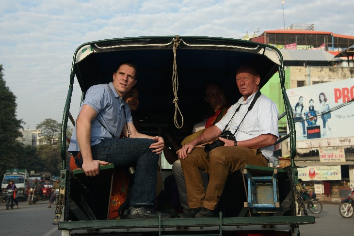 riding a tuc-tuc through Mandalay town