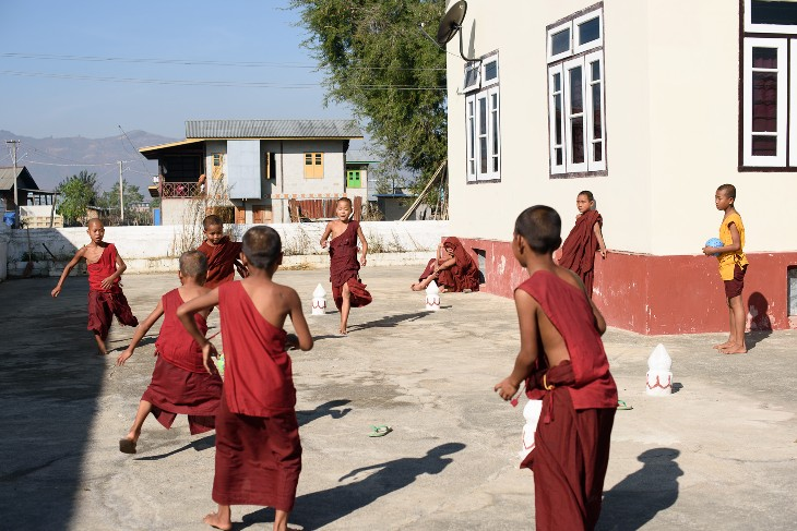 football at Shwe Yan Bye monastery