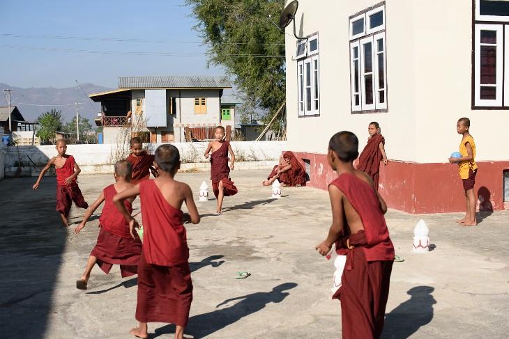 football at Shwe Yan Bye monastery