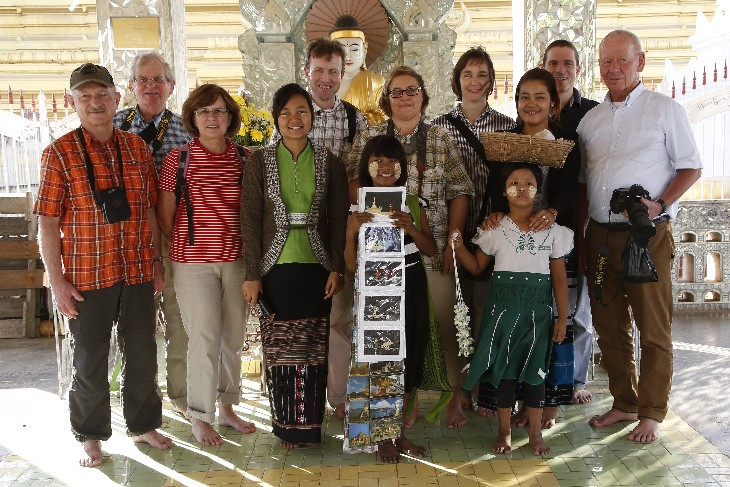 Our group with two children selling souveniers at Kuthodaw Pagoda