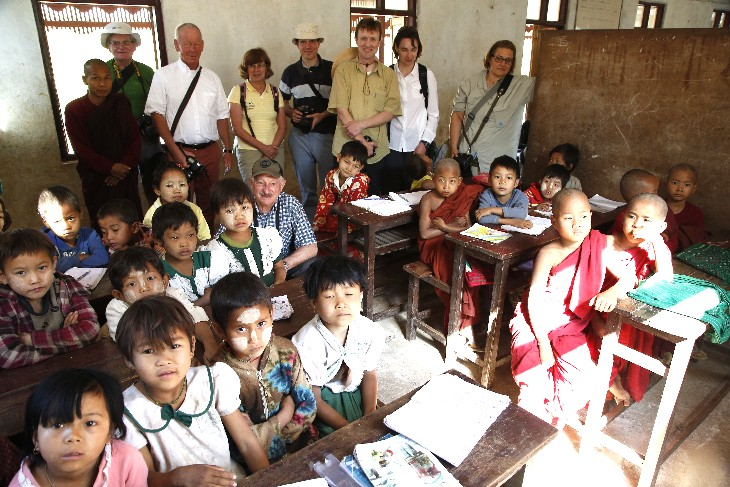 in the classroom at one of the villages